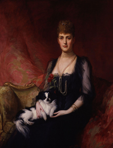 Portrait of Alexandra of Denmark with her Japanese Chin called Punch.