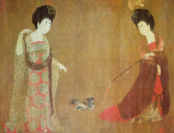 Two women playing with a lap dog, China, 8th century
